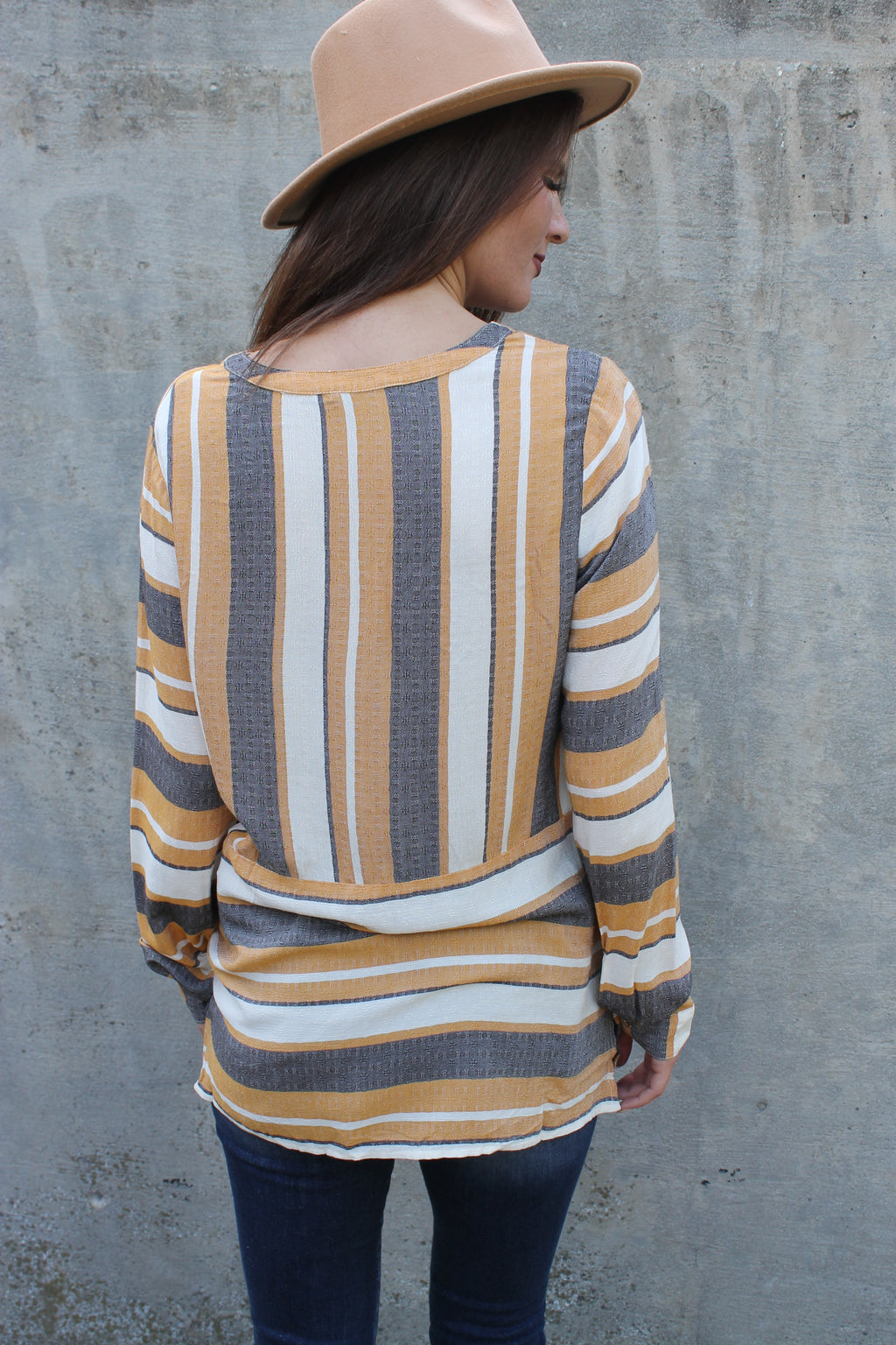 Mustard Stripe Pocket Top