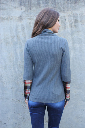 Charcoal Plaid Sleeve Turtleneck Top