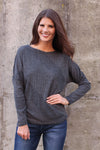 Charcoal Button Dolman Top