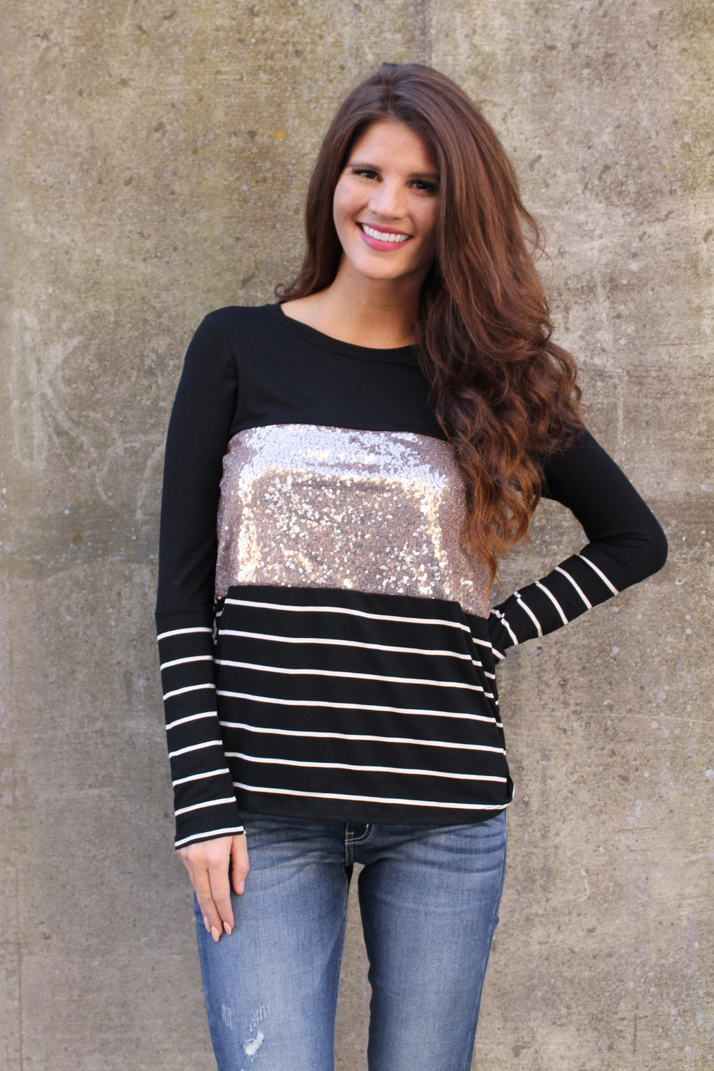 Black Stripe Sequin Top