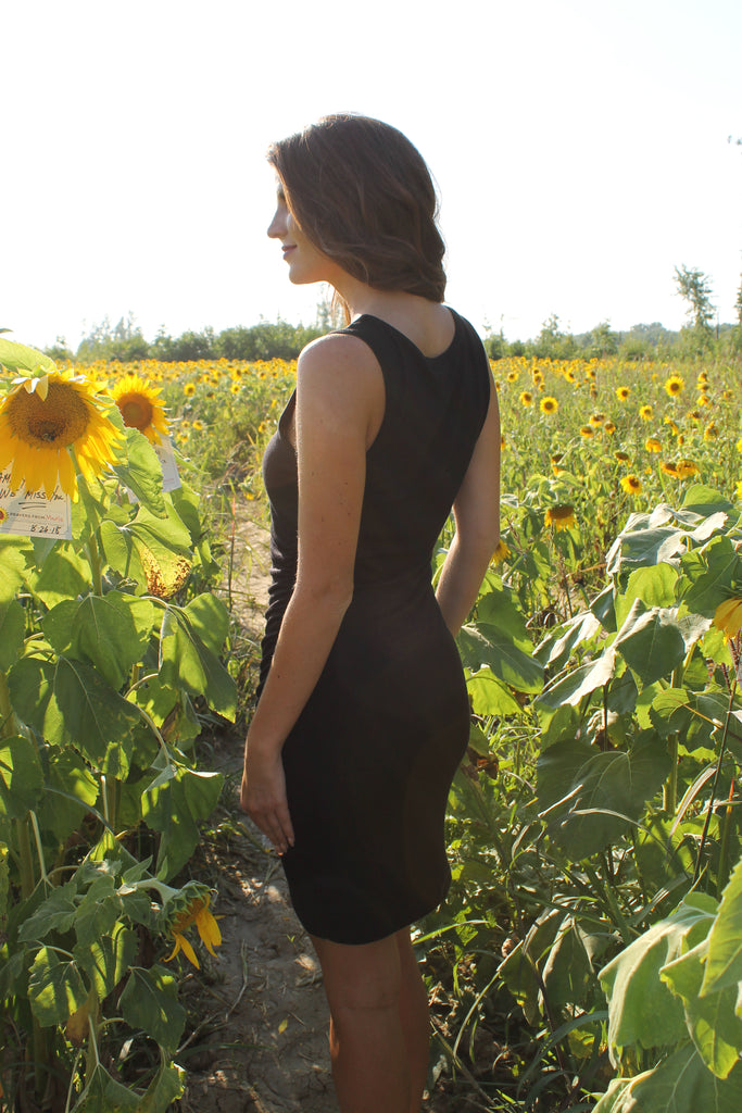 Black Round Neck Asymetrical Dress