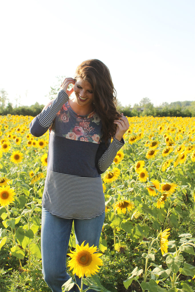 Navy Floral/Stripe Colorblock Top
