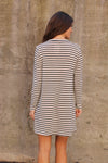 Ivory Stripe Animal Shift Dress