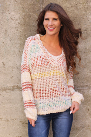 Ivory Multi Stripe Soft Sweater