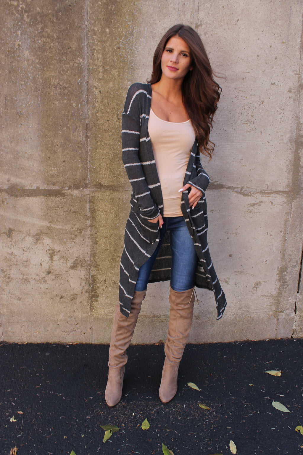 Charcoal Stripe Cardigan