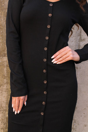 Black Button Up Dress