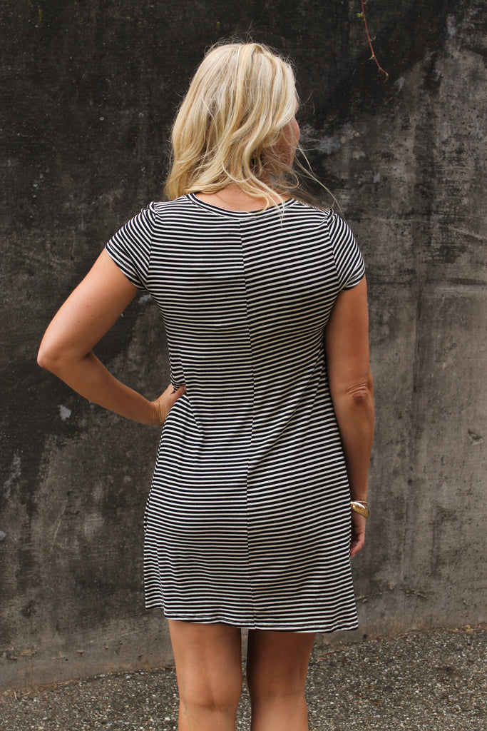 Black/White Striped Dress