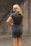 Charcoal Ruched T-Shirt Dress