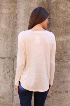Oat Criss Cross Long Sleeve Top