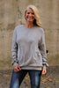Grey Brush Knit Long Sleeve Top