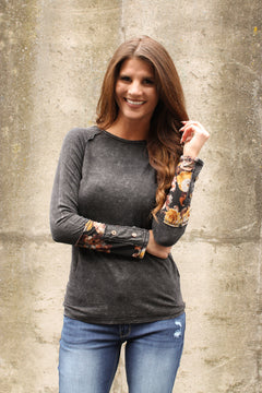 Charcoal Floral Button Sleeve Top