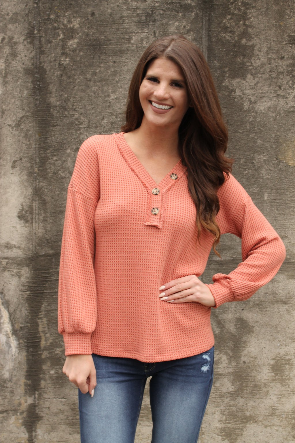 Orange Thermal Button Top