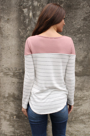 Mauve Lace Stripe Top