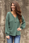Olive Thermal Button Top