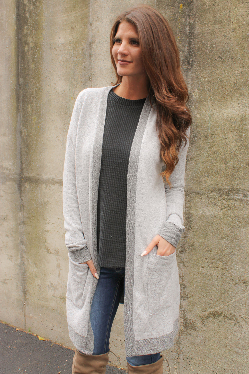 Grey Brushed Pocket Cardigan