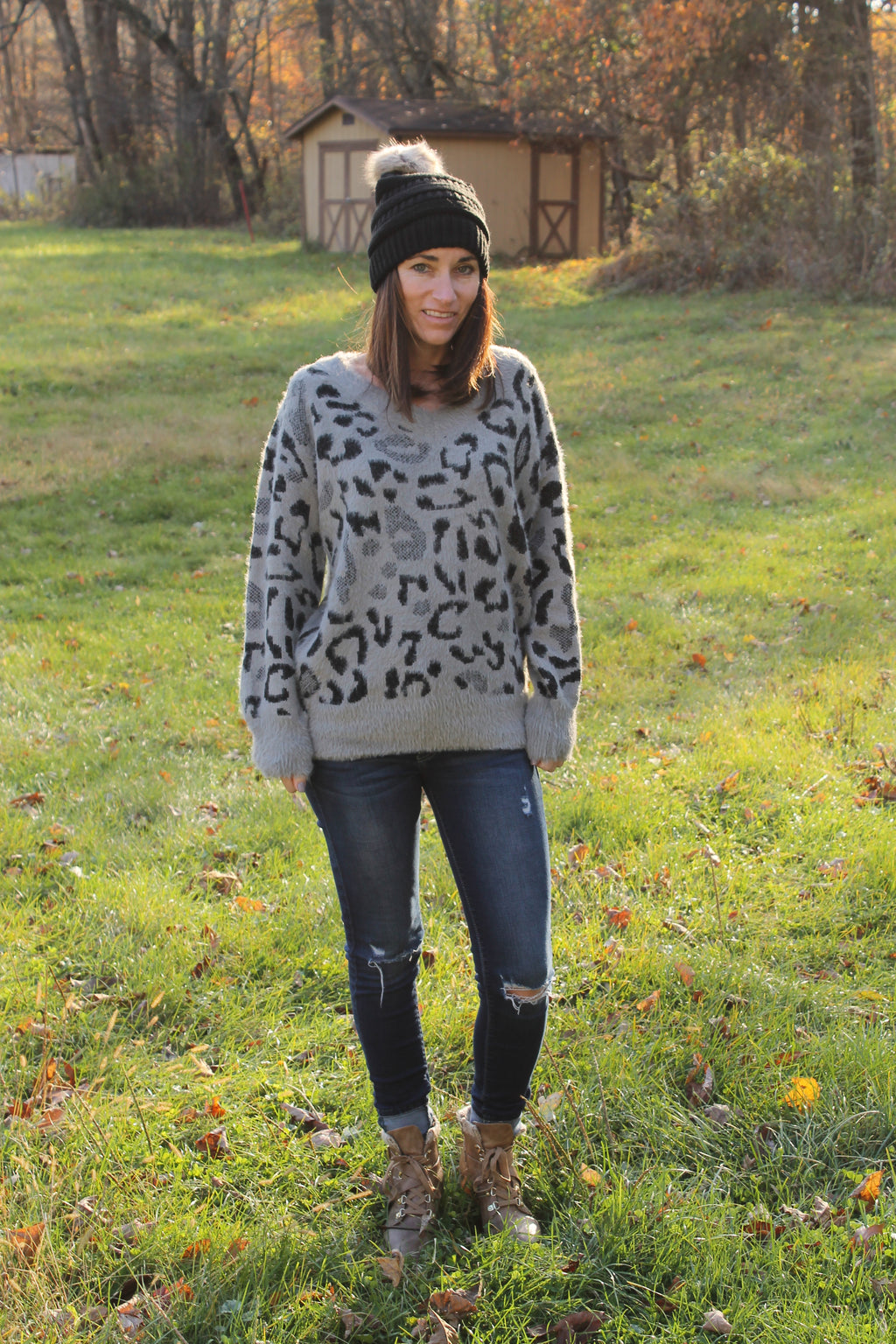 Grey Leopard Sweater