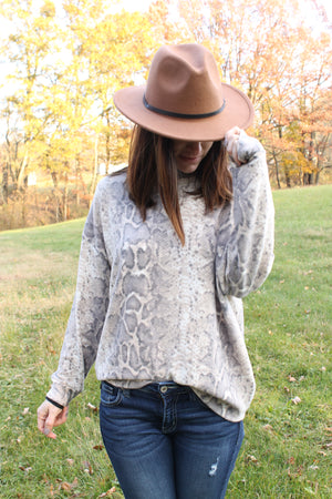 Taupe Animal Brushed Top