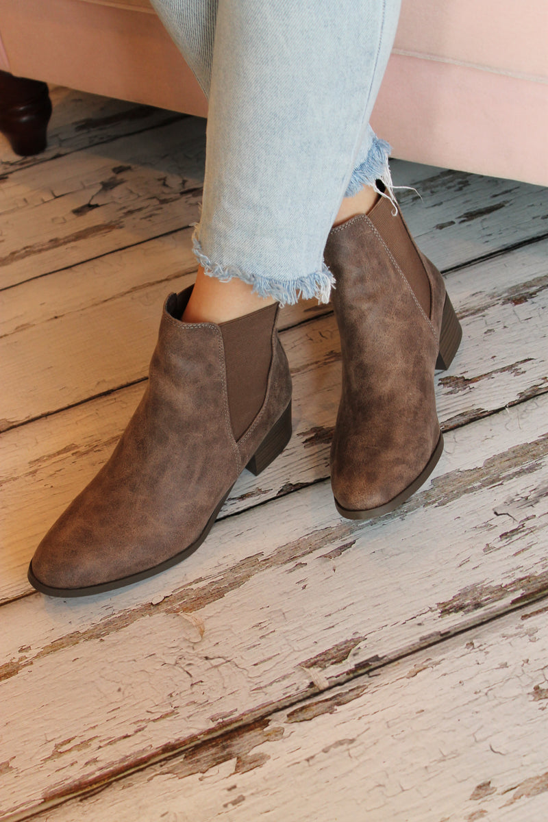 Brown Distress Bootie