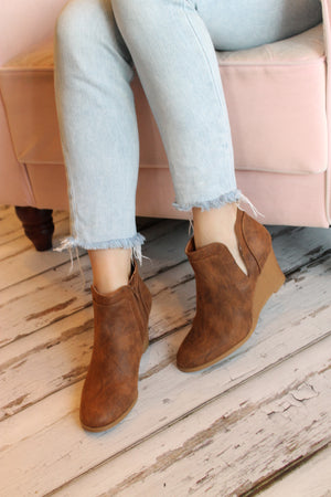 Brown Wedge Bootie