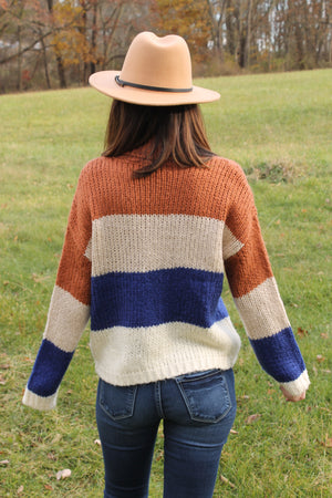 Rust/Navy Colorblock Turtle Sweater