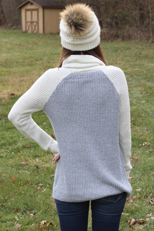 Grey/Ivory Turtle Sweater