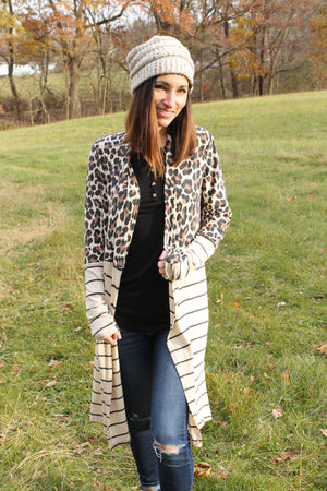 Oat Animal Stripe Cardigan