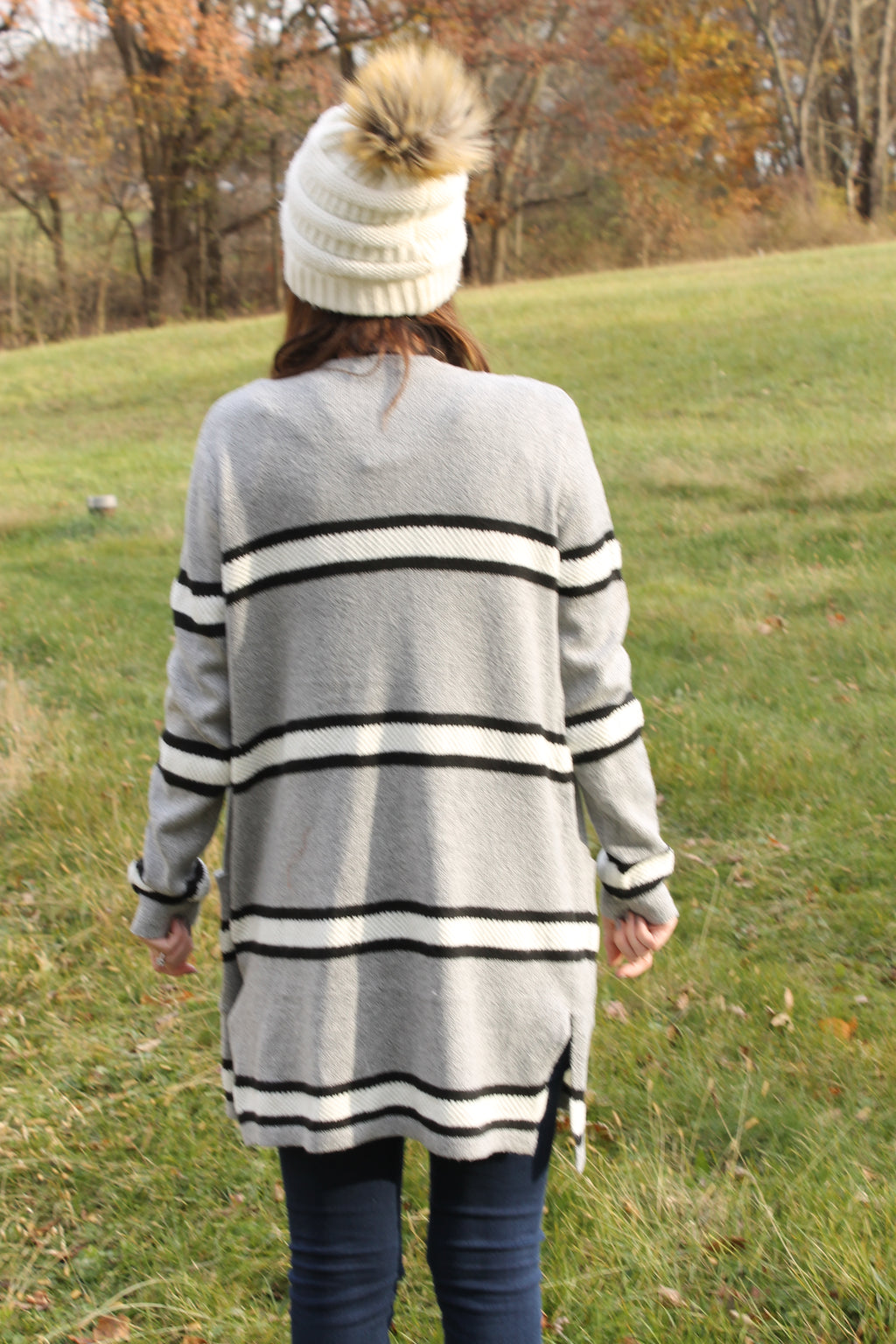 Grey/Black Stripe Cardigan