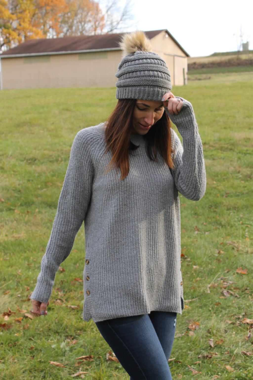 Grey Side Button Sweater
