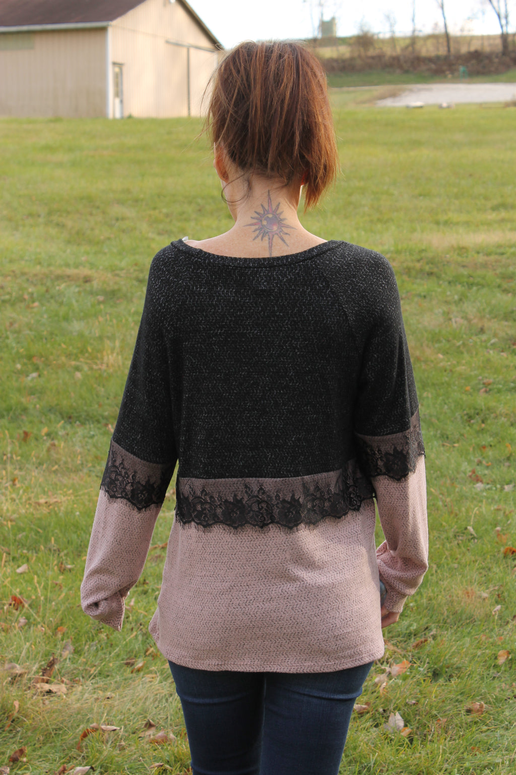 Charcoal Brushed Lace Top