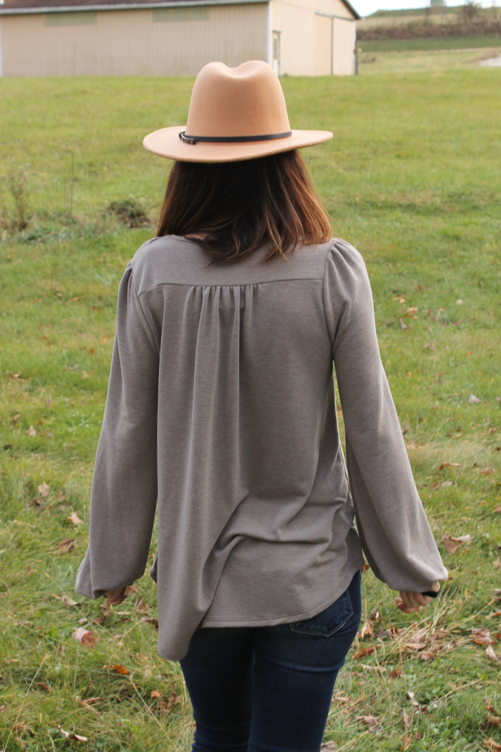 Mocha Sequin Puff Sleeve Top