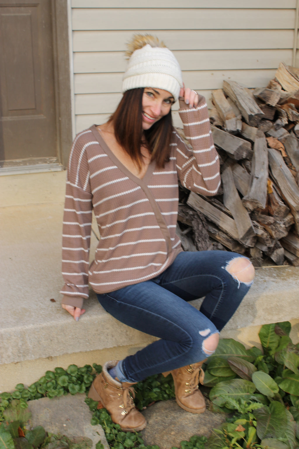 Mocha Surplice Stripe Top