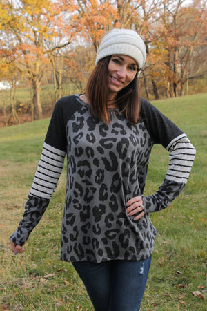 Charcoal Animal Colorblock Top