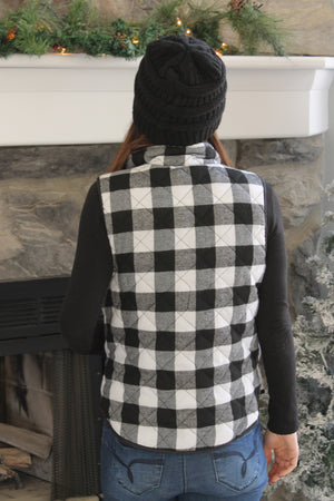Black/White Plaid Vest