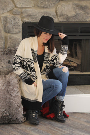 Ivory/Black Sweater Cardigan