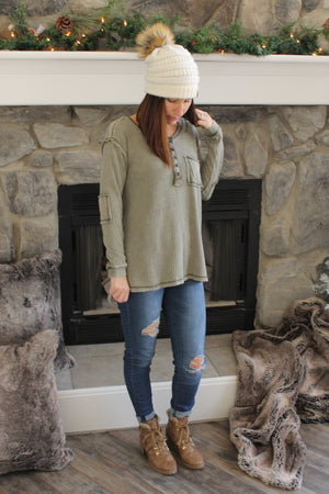 Olive Thermal Button Down Top