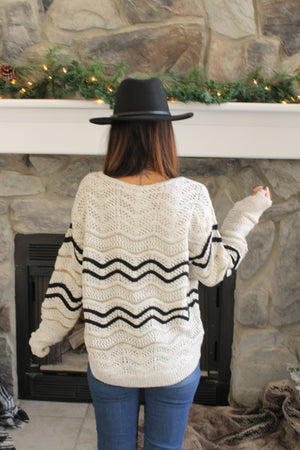 Ivory Chevron Lurex Sweater