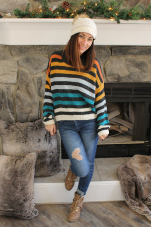 Charcoal Mulit Stripe Sweater