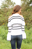 White/black stripe bell sleeve sweater