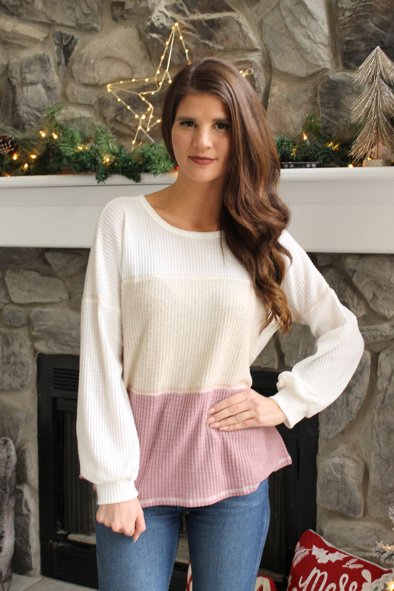 Ivory/Pink Colorblock Top