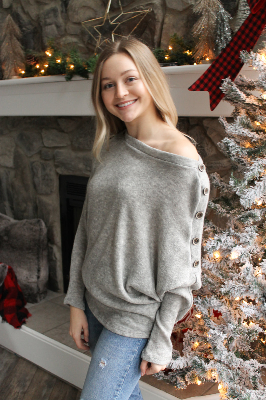 Grey Brushed Button Sleeve Top