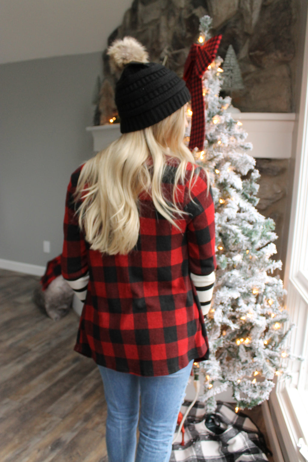 Buffalo Plaid Stripe Cardigan