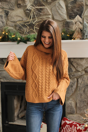 Camel Turtle Cable Sweater