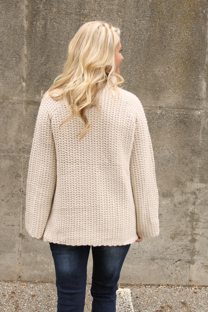 Beige High Neck Sweater
