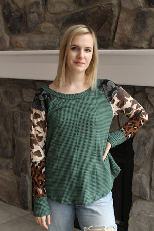 Hunter Waffle Animal Sleeve Top