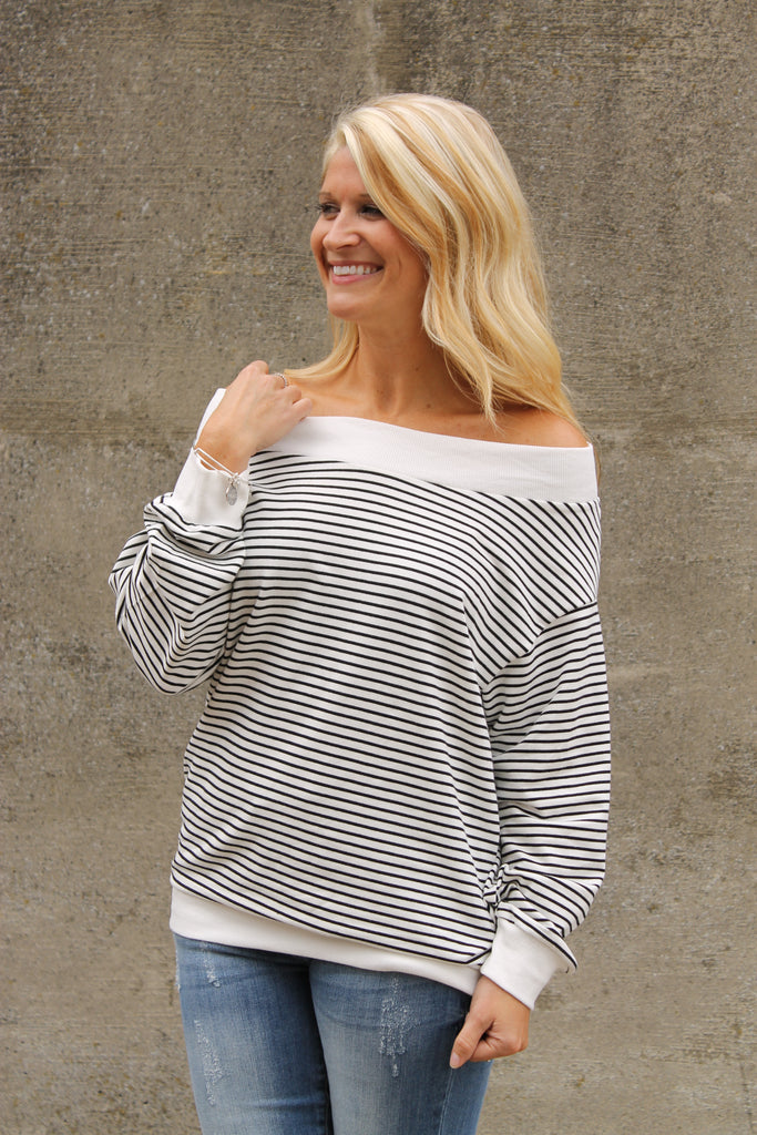 White Stripe Off Shoulder Top