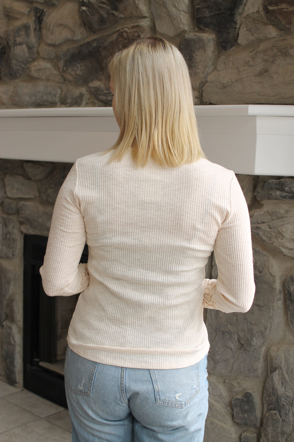 Oat Crochet Sleeve Button Top
