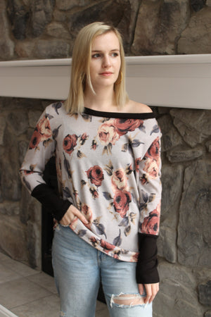 Grey Floral Contrast Top