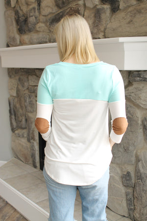 Mint/Ivory Colorblock Elbow Patch Top