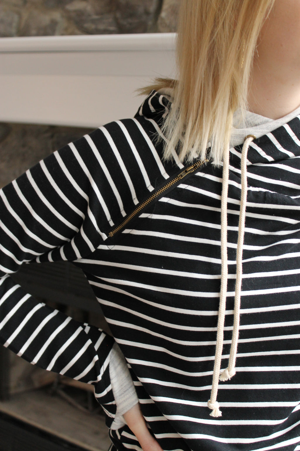 Black Stripe Double Zip Hoodie