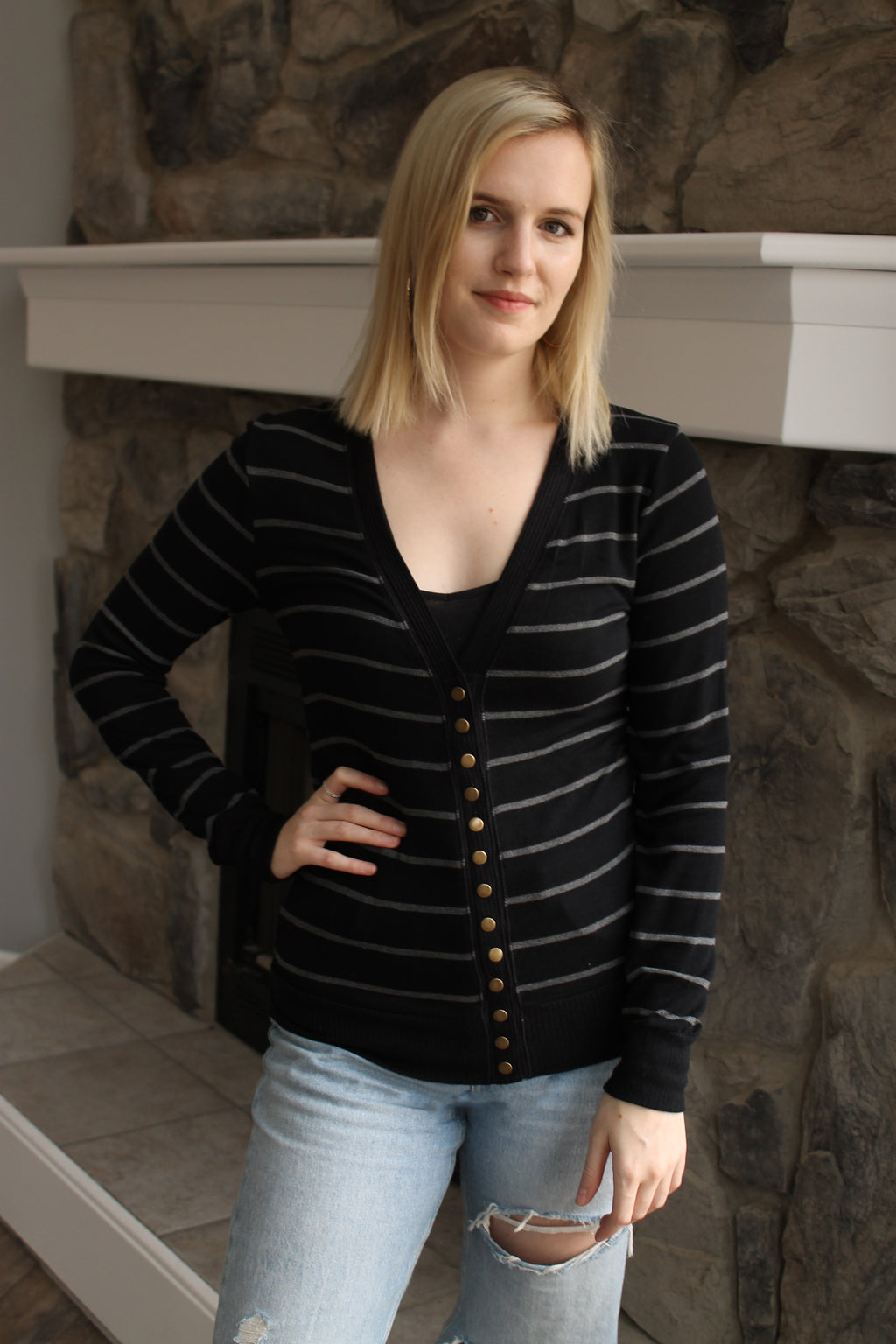 Black Stripe Cardigan